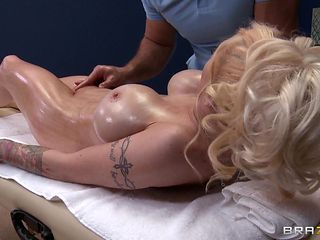 hot blonde gets fingered at massage