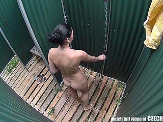 Czech Brunette Hidden Cam in Public Pool