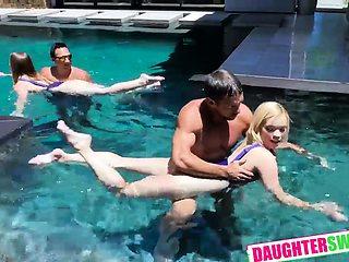 Steamy Daughter Pool Sex Kenzie Madison, Katie Kush, Bobby B