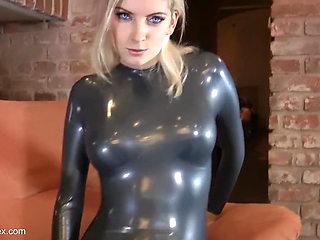 latex girl striptease