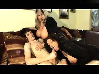 Two voluptuous German cougars take control of a young cock