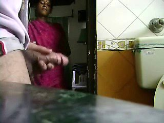 My young maid caught me jerking my cock. She likes it