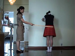 Chinese Girl Caned Spanked