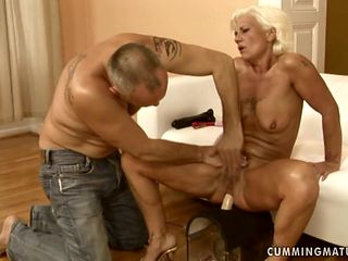 Mature is on the edge of nirvana with hard snake in her twat