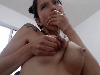 Beautiful milk machine nipples on Latina
