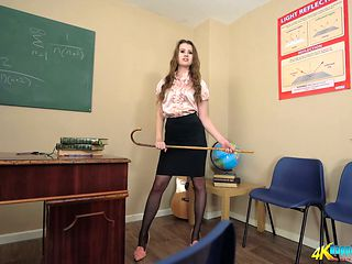 Young strict teacher Brook Logan turned to be leggy strip dancer