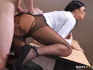 Sexiest woman in ripped pantyhose Jasmine Jae takes huge cock in anal hole