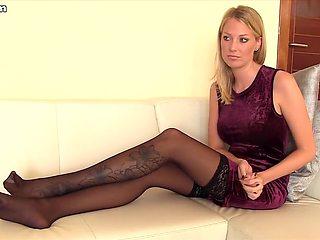 I'm posing in stockings in my homemade sextape clip