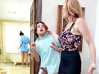Pervert dude fucks stepmom and the maid