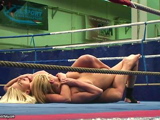 Fully nude female wrestling with Simony Diamond and Karina Shay