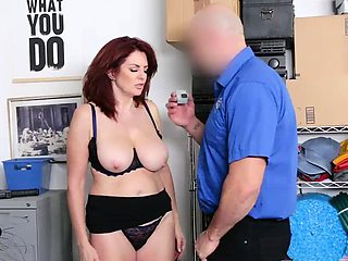 Redheaded MILF Andi got a sticky load on her big tits