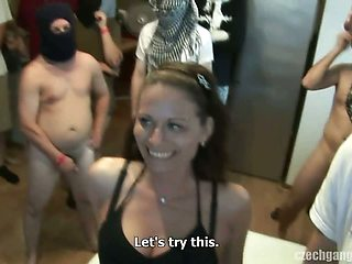 WIFE'S DREAM COMES TRUE AT CZECH GANG BANG