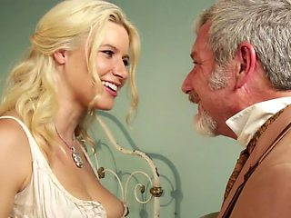Pretty prostitute and a dirty old man fucking in a hot scene
