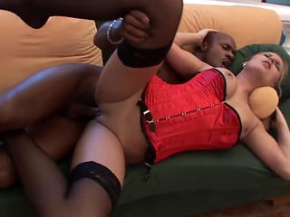 Hot bitch in red gets anal drill by black cock