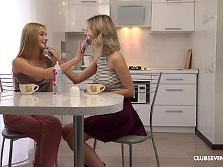 Passionate lesbian sex with blondes Elizabeth Evans and Tiny Teen