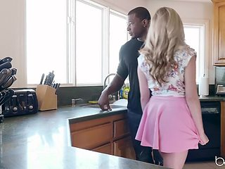 Black stud fucked amazing blonde wife Carolina Sweets in the kitchen