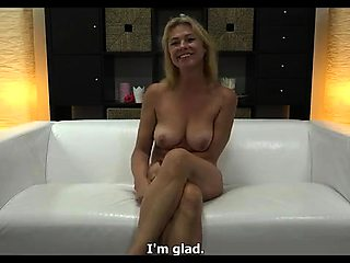 Stacked mature blonde goes wild on a hard cock in casting
