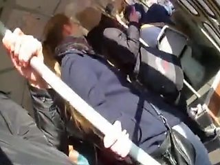 Innocent girl touches my dick on train