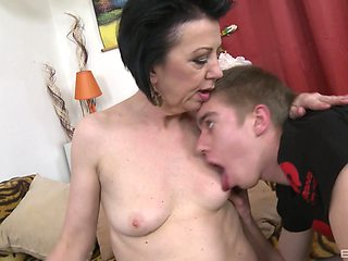 Old vs young sex with small boobs mature Yvon in stockings