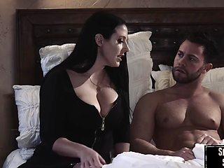 Big tit MILF deepthroats before fucking during hot romance