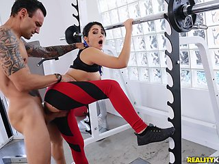 Rough sex at the gym is all about horny girl Valentina Nappi talking