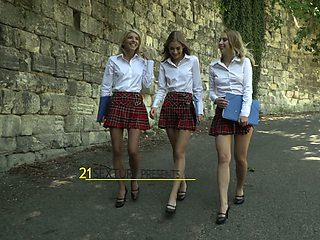 Three college girlfriends are licking and finger fucking each others holes