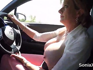 Unfaithful british mature lady sonia flashes her monster nat