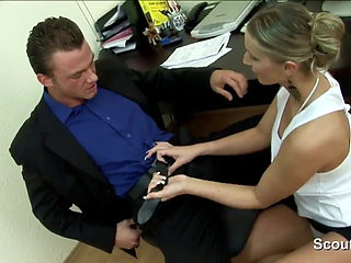 German sexy MILF secretary fucks her boss at work