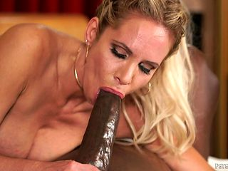 Blonde with huge knockers has interracial sex session of her lifetime with hard dicked dude