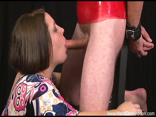 Busty handjob girl sucks raw cock and slaps it post orgasm