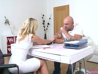 Amazing and hot Cristal Caitlin enjoys sex with a stranger in the office