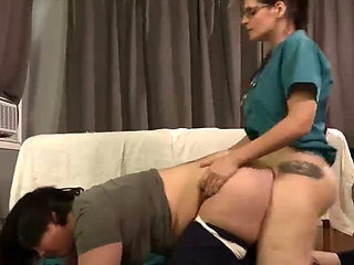 Nurse Humps Her Special Girl Client From Behind