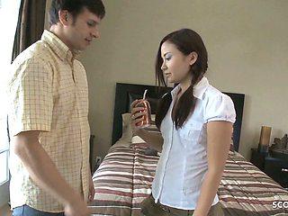 Thai Aupair Teen Seduce to Rough Fuck by her Big Dick Boss