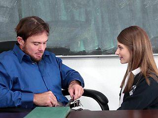 Middle aged teacher gets seduced by a super hot brunette schoolgirl