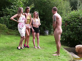 Amazing outdoors video of sexy Carmel Anderson and friends giving head
