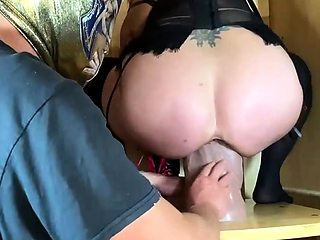 Gigantic Double Fist and Dildo Fucked Pussy