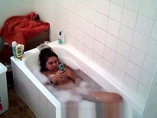 Big tittied college slut Aylie takes a bath