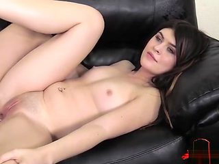 Brunette pornstar casting and creampie
