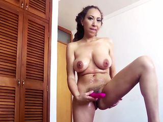 Latina MILF Lubes and Strips Out of Fuck Me Dress with Vibrator Dildo