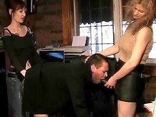 Office girls pump the boss