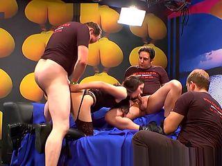 Fetish slut in stockings spitroasted