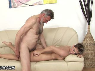 Teen having oral fun with hard dicked dude