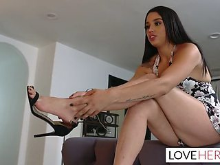 Babysitter vanessa sky caught stealing and gives footjob