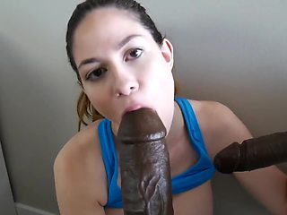 Fitness Babe taking two BBC's after the Gym Roleplay