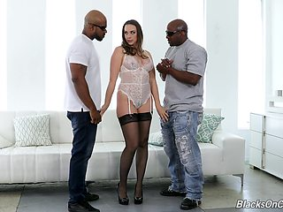 Interracial threesome sex with two black dicks and Chanel Preston