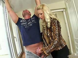 Blonde model Uma with small tits fucked from behind and rides