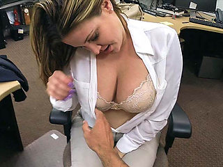 Blonde Business lady babe  Fucked inside the pawn shop office while she is selling her Collection