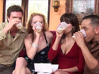 Four drunk friends engage in a thrilling group sex