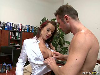 hot redhead big tits fucked on the table