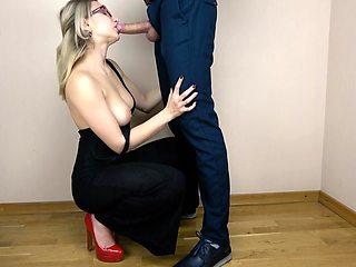 Secretary Sloppy Suck and Swallows Cum
